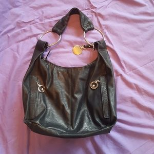 Jennifer Lopez Black Hobo Bag with Silver Accents